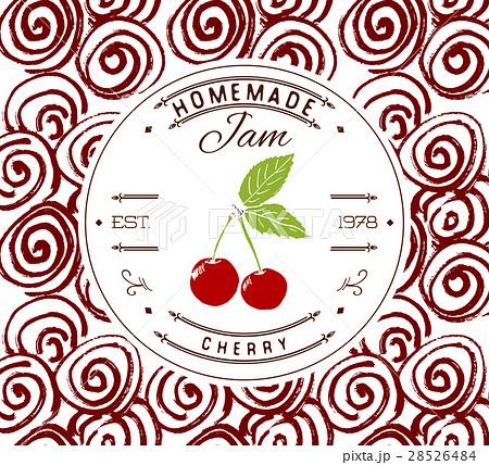 jam label design template cherry fruit vectorのイラスト素材