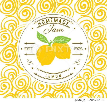 jam label design template lemon fruit vectorのイラスト素材