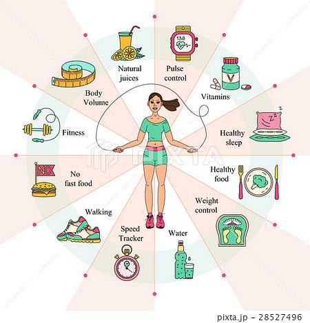 weight loss diet infographics のイラスト素材 28527496 pixta