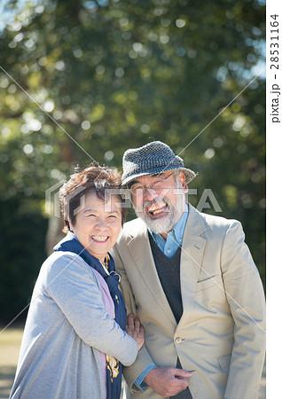 公園を散歩するシニア夫婦 28531164