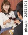 カップル 赤ワイン ディナーの写真 28531301