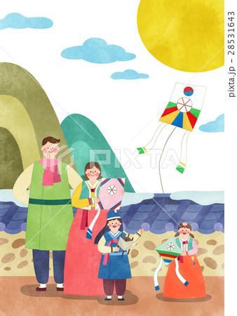 家族 カイト 凧のイラスト素材 28531643 Pixta