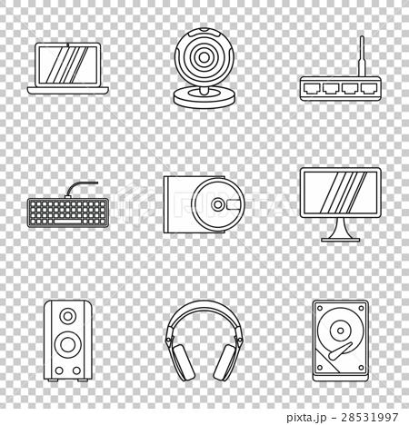 Computer setup icons set, outline style 28531997