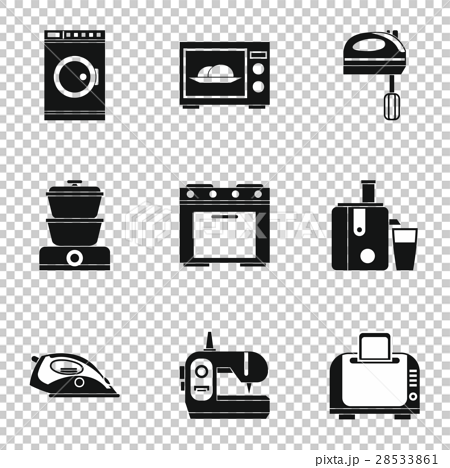 Home Appliances Icons Set Simple Style Stock Illustration