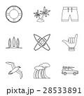 サーフィン 波乗り アイコンのイラスト 28533891