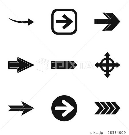 Kind of arrow icons set, simple style 28534009