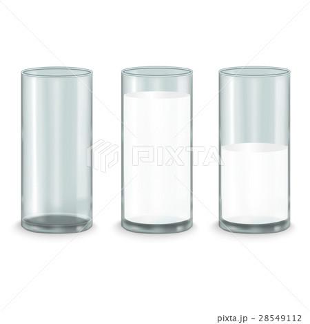Realistic Milk Glass Set. Vectorのイラスト素材 [28549112] - PIXTA