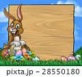 Cartoon Easter Bunny Eggs Background Sign 28550180