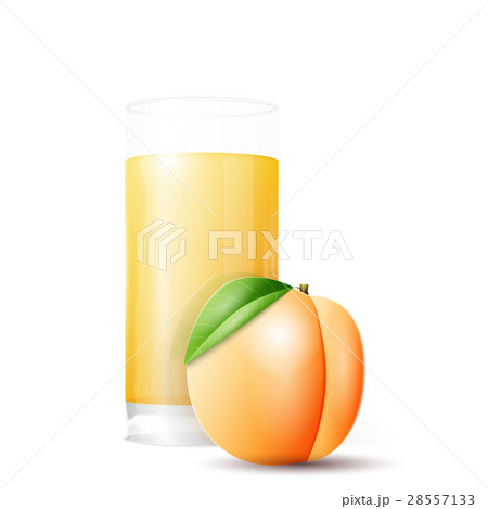 Apricot and glass of juice 28557133