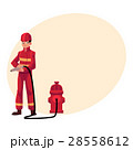 Firefighter, fireman in red protective suit 28558612