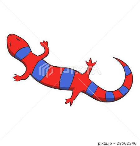 Red lizard icon, cartoon style 28562546