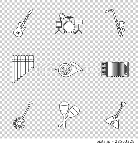 Musical instruments icons set, outline style 28563229