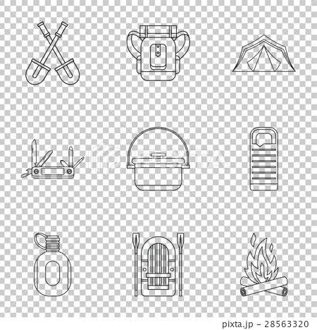 Forest icons set, outline style 28563320
