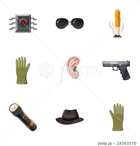 Secret agent icons set, cartoon style 28563570