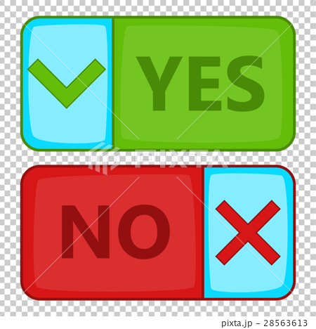 Yes and No button icon, cartoon style - Stock Illustration