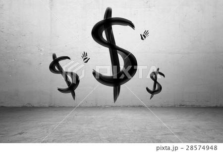 Three black brush painted USD signs and handのイラスト素材 [28574948] - PIXTA