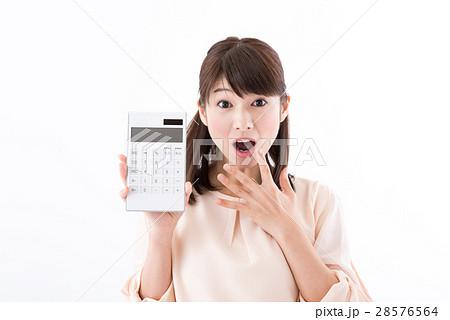 若い女性、計算機、びっくり 28576564