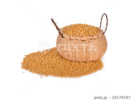 dried mustard seeds in bamboo basket and on whiteの写真素材 [28576597] - PIXTA