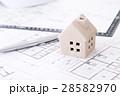 住宅図面と家 白バック 28582970