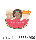 Funny children eating watermelon 28584966