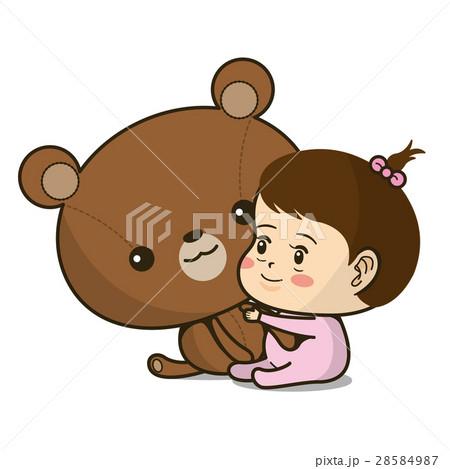 チラシやカタログ、パンフレットでカットとして使える赤ちゃんとクマのぬいぐるみイラスト 28584987