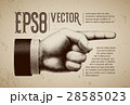 Vector hand with pointing finger in engraving 28585023