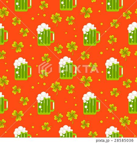 Irish St. Patrick green ale orange seamlessのイラスト素材 [28585036] - PIXTA