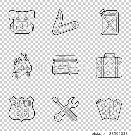 Camp icons set, outline style 28595038