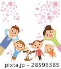 桜 家族 桜吹雪のイラスト 28596385