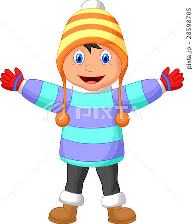 cartoon illustration of a boy in winter clothes waのイラスト素材