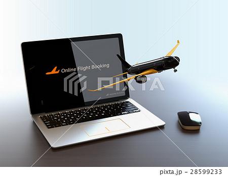 ノートパソコンから飛び立つ飛行機のイメージ。オンライン航空券発券サービスのコンセプト 28599233