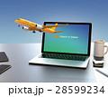 ノートパソコンから飛び立つ飛行機のイメージ。オンラインチェックインサービスのコンセプト 28599234