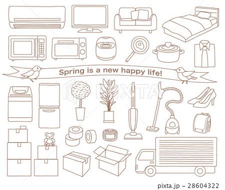 新生活の家電と家具 引越しのイラスト素材セット 28604322