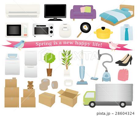 新生活の家電と家具 引越しのイラスト素材セット 28604324