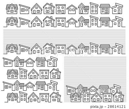 シンプルな家の並び線画のイラスト素材 28614121 Pixta