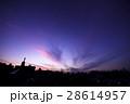夕焼け空(内陸部 街並みのシルエット) 28614957