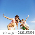 happy family having fun outdoors against blue sky  28615354