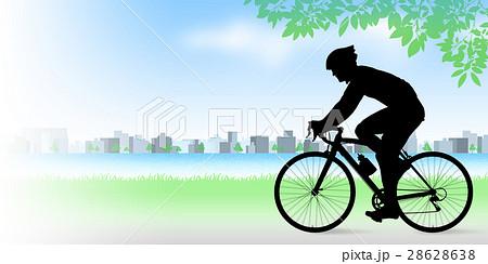 河原でロードバイクに乗る男性 28628638