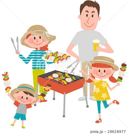 バーベキューを楽しむ家族のイラスト素材 28628977 Pixta