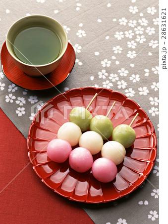 緑茶と三色だんご 28631621