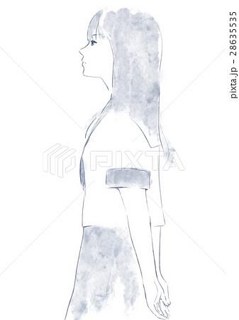 セーラー服の女子の横顔のイラスト素材 [28635535] , PIXTA