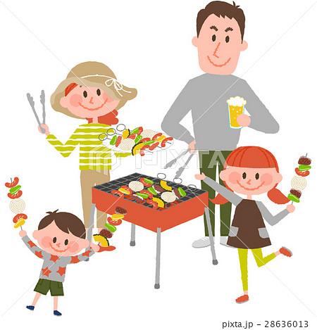 バーベキューを楽しむ家族 28636013