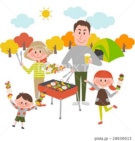 バーベキューを楽しむ家族 28636015