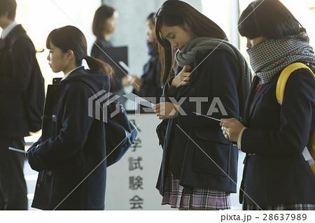 試験会場 受験票を確認する学生 28637989
