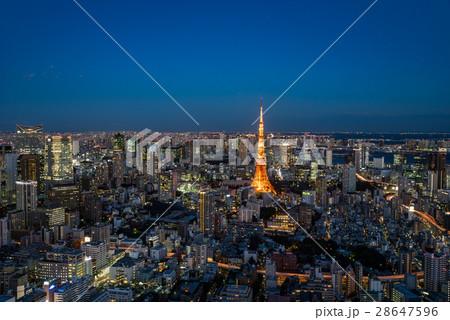 東京タワーと東京都心の夕景 28647596