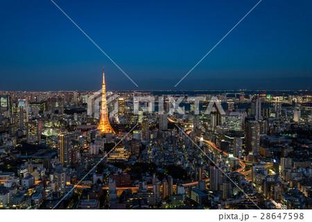 東京タワーと東京都心の夕景 28647598