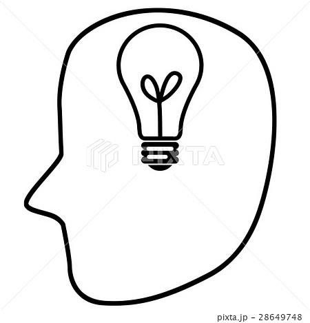 頭部と電球のイラスト 左向きのイラスト素材 28649748 Pixta