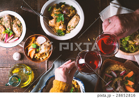 Pilaf, vegetable salad and a drink on the holiday 28652816