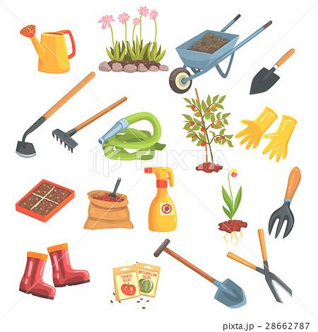 Gardeners equipment set of objects needed for for Elementos de jardineria