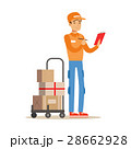 Delivery Service Worker Crossing Out Address From 28662928